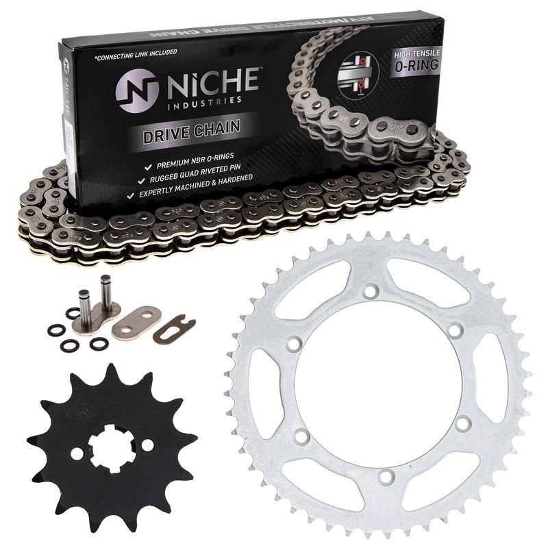 Drive Chain and Sprocket Kit for Kawasaki KDX200 92057-0129 42041-1448 92057-0174 NICHE MK1004084