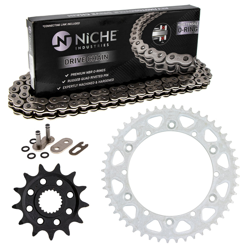 Drive Chain and Sprocket Kit for Yamaha YZ125 9383B-13218-00 9Y582-36111-00 9Y582-28111-00 NICHE MK1004086