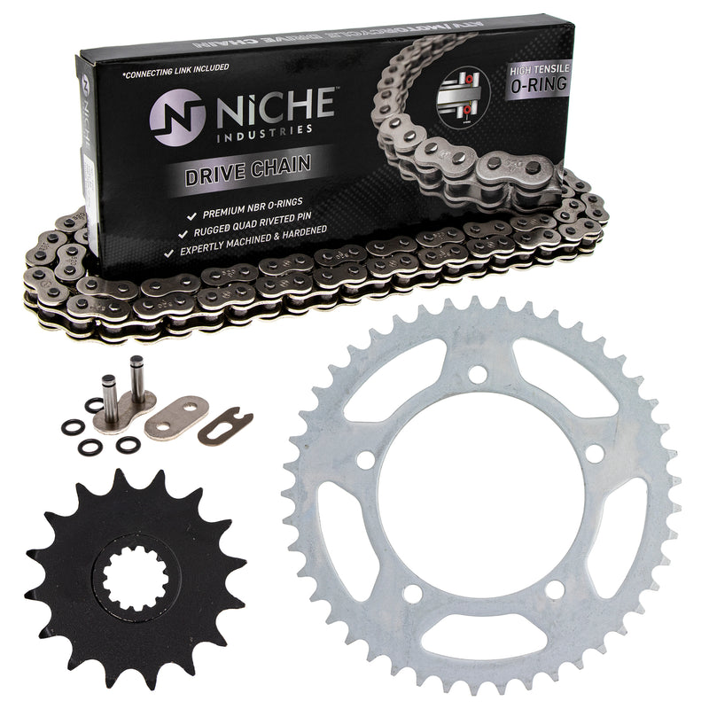 Drive Chain and Sprocket Kit for Yamaha Suzuki Kawasaki GSXR600 64511-39F00 9Y581-38109-00 NICHE MK1004175