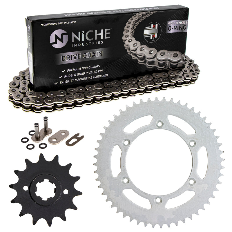 Drive Chain and Sprocket Kit for Suzuki Ducati PE250 27511-14210 67640721A 67640471A NICHE MK1004237