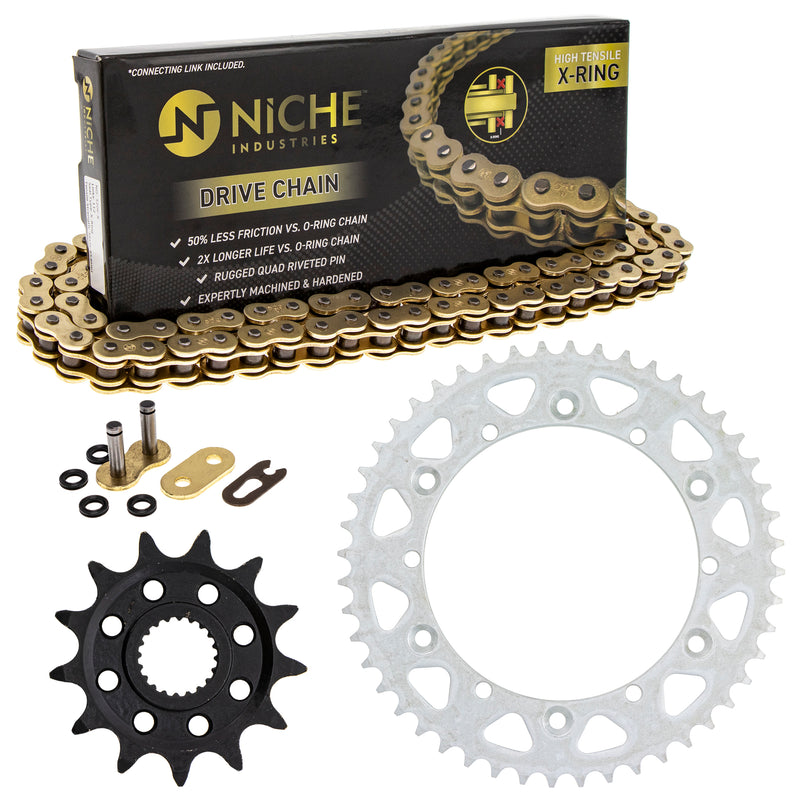 Drive Chain and Sprocket Kit for Yamaha YZ125 9383B-13218-00 9Y582-36111-00 9Y582-28111-00 NICHE MK1004611