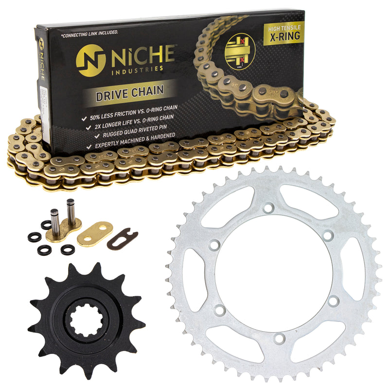 Drive Chain and Sprocket Kit for 110833133 110791235 110785992 110784472 110735234 RMZ250 NICHE MK52011429