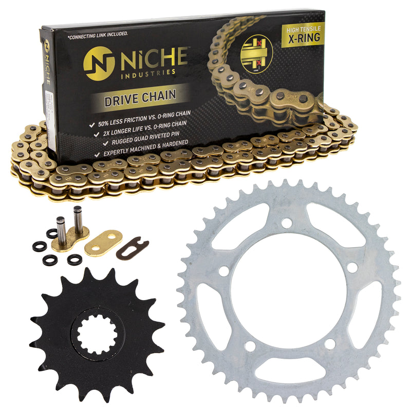 Drive Chain and Sprocket Kit for Yamaha Suzuki Kawasaki GSXR600 64511-39F00 9Y581-38109-00 NICHE MK1004700