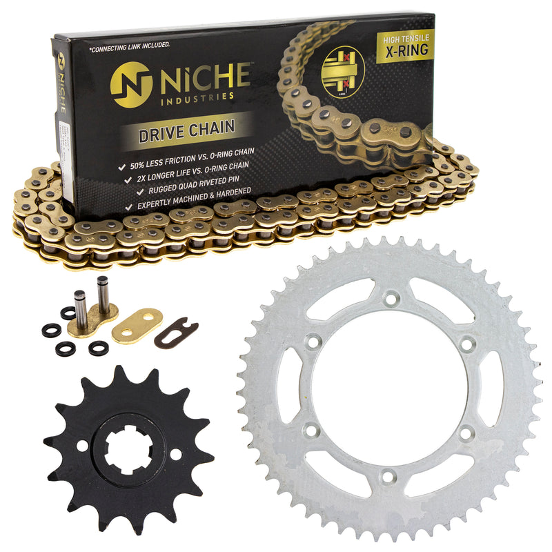 Drive Chain and Sprocket Kit for Suzuki Ducati PE250 27511-14210 67640721A 67640471A NICHE MK1004762