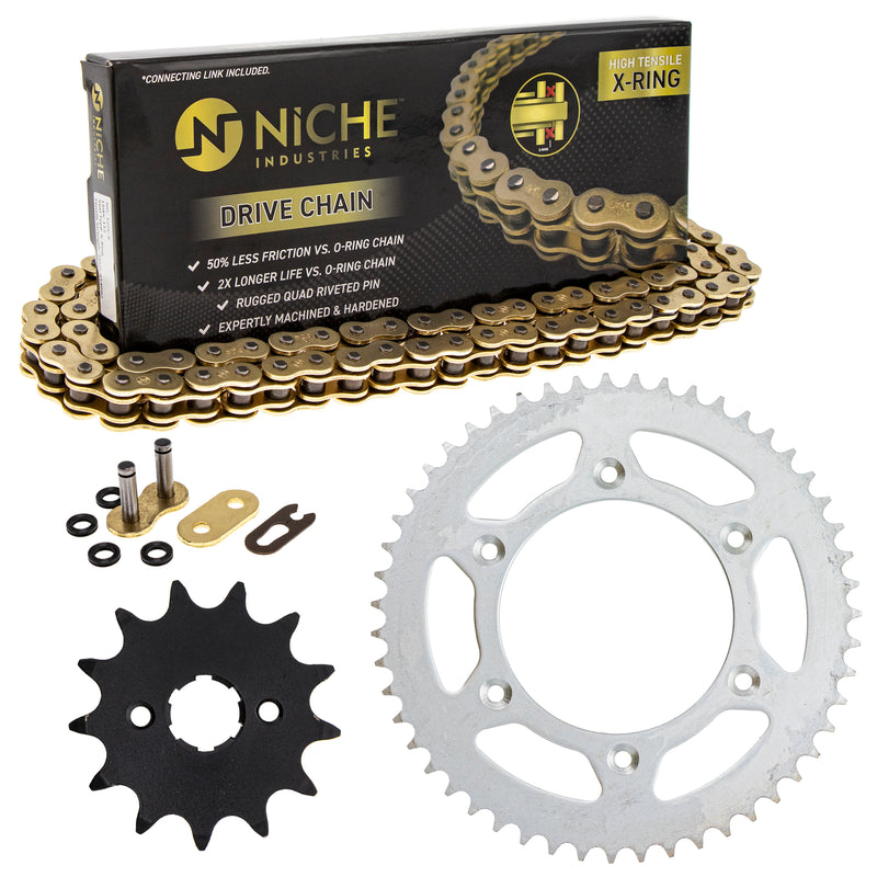 Drive Chain and Sprocket Kit for Honda 11132021353241 CR125R 40530-KCY-652 40530-KCE-506 NICHE MK1004786