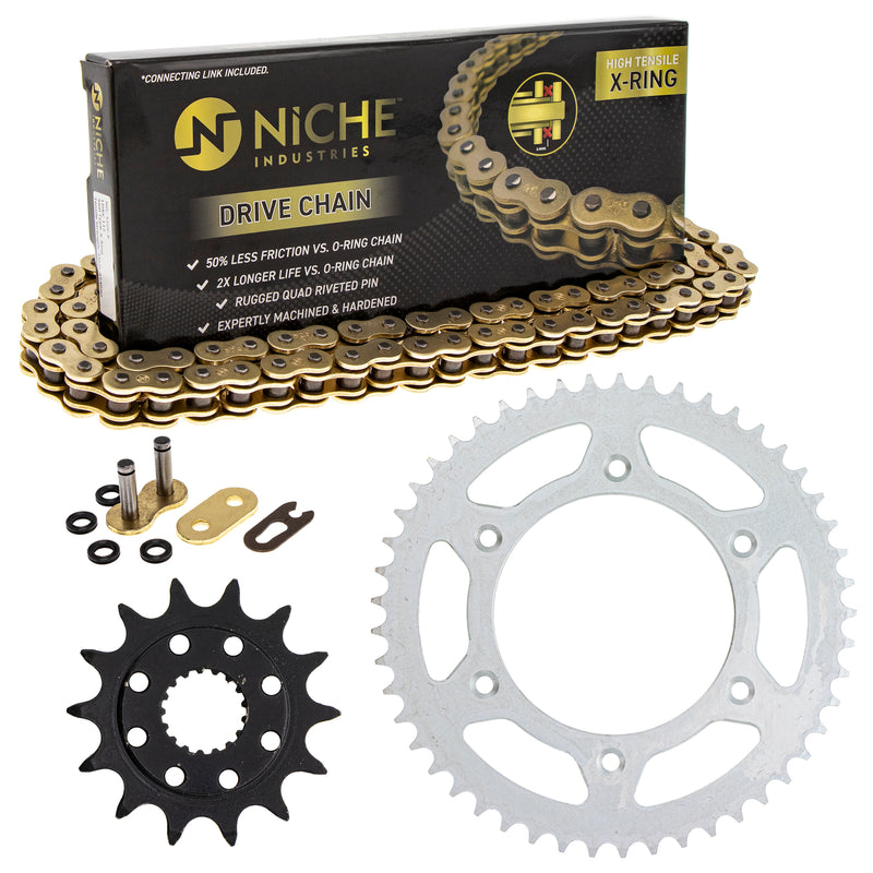 Drive Chain and Sprocket Kit for zOTHER Honda CR500R CR250R 41204-ML3-505 41201-MKE-A70 NICHE MK1004797