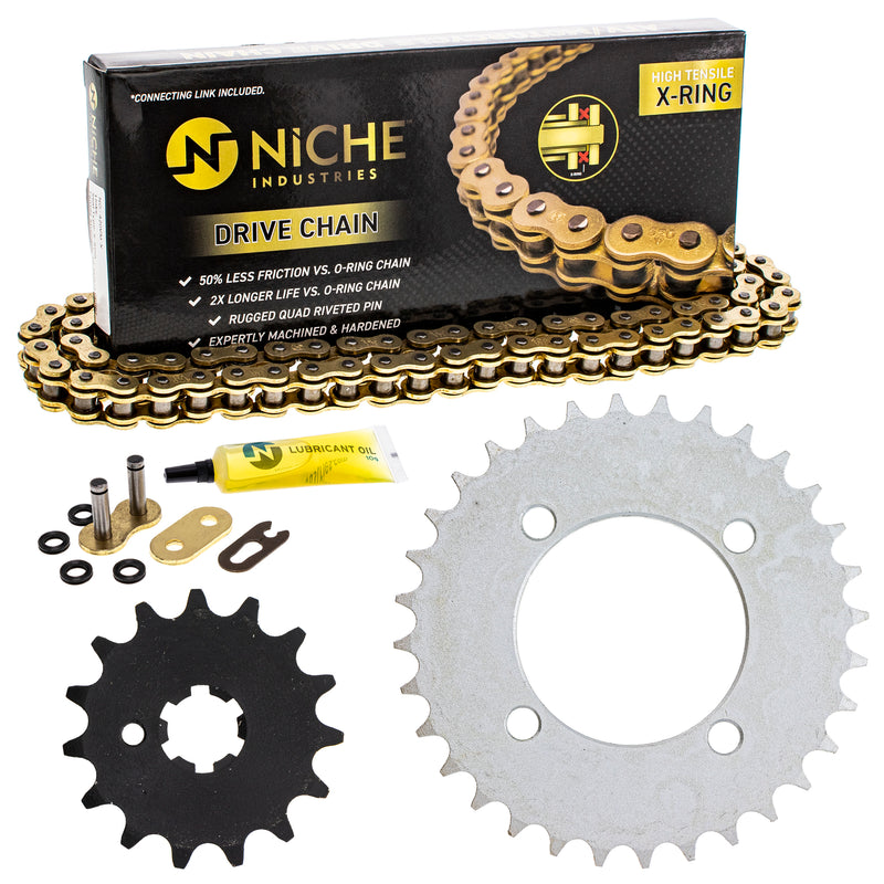 Drive Chain and Sprocket Kit for Yamaha PW80 4BC-25432-50-00 93812-15063-00 9Y580-52083-00 NICHE MK1005068