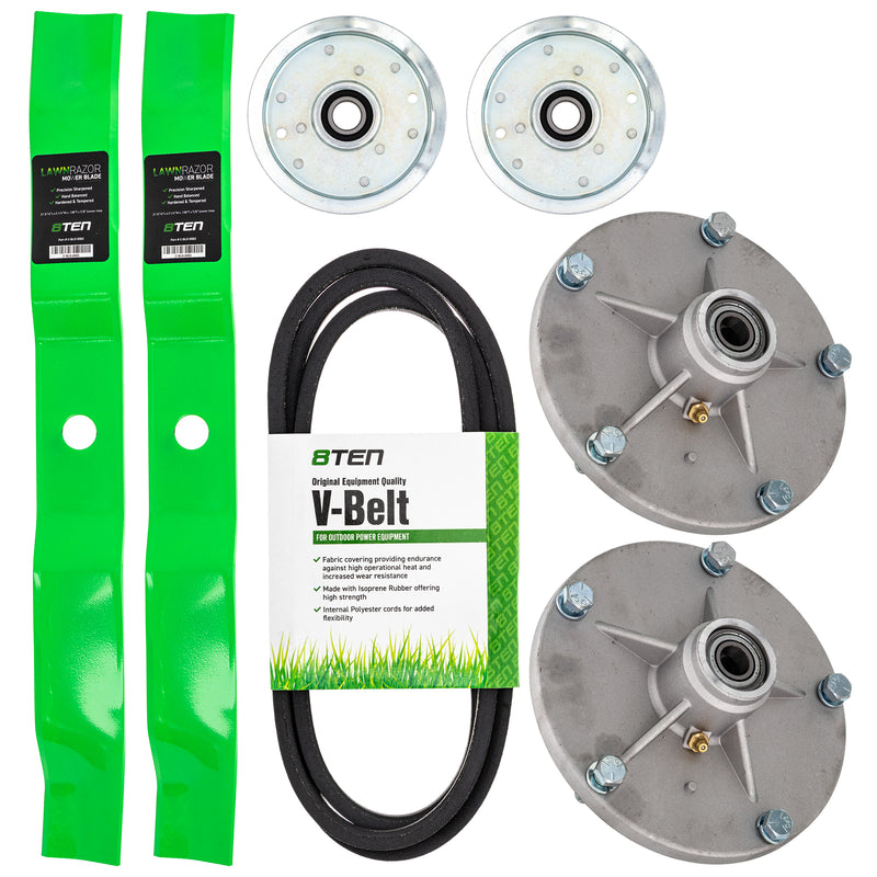 Spindle Blade Belt and Idler kit for zOTHER YAZOO-KEES Woods Walbro Stens Snapper Oregon 8TEN MK1005457