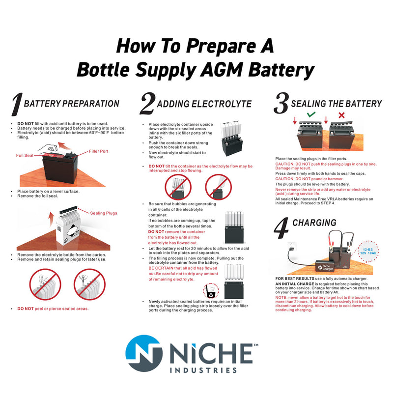 NICHE Sealed AGM Battery High Performance 1999-2009 Yamaha YZF-R6