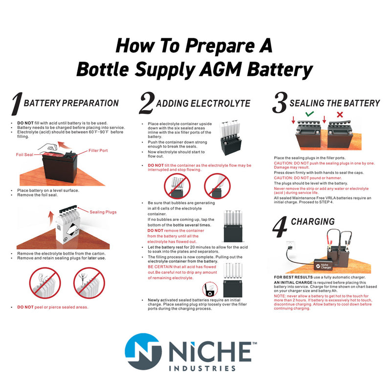 NICHE Sealed AGM Battery Harley Davidson Street Sportster XL YTX14L-BS