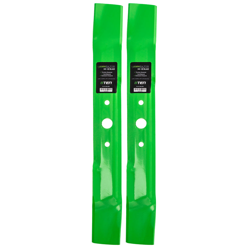LawnRAZOR High-Lift Lawn Mower Blade Set 2-Pack for Oregon MTD John Deere M148613 M139976 8TEN 810-CBL2278D