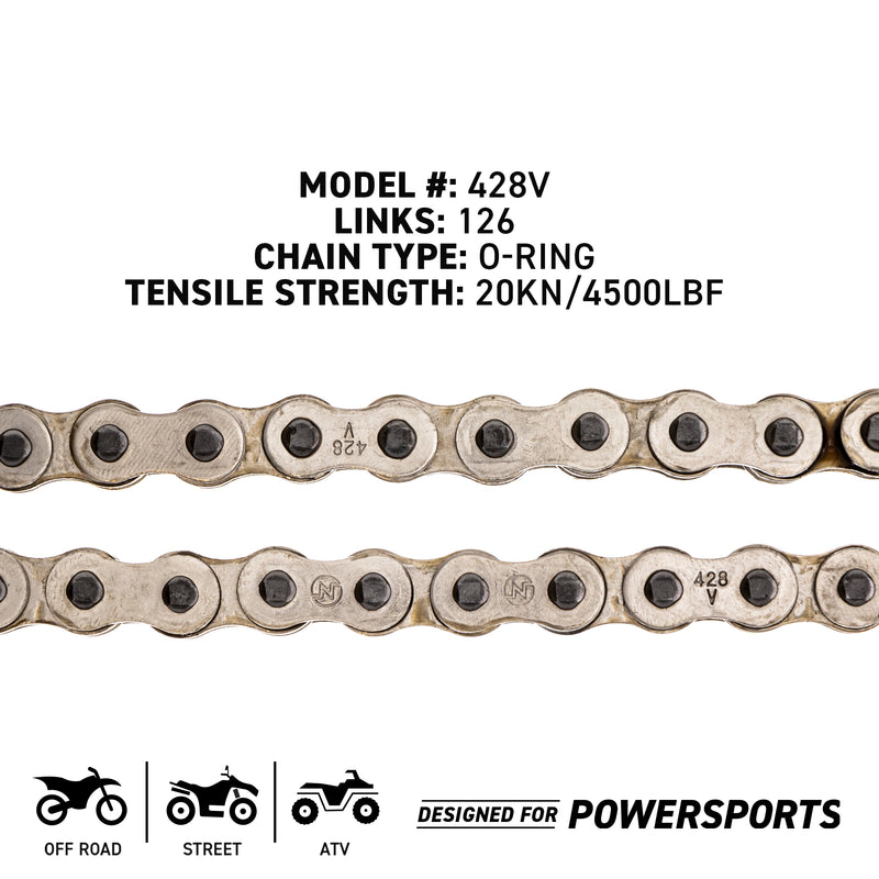 Sprocket Chain Set for Hyosung Cruise 125 14/48 Tooth 428 Front Rear