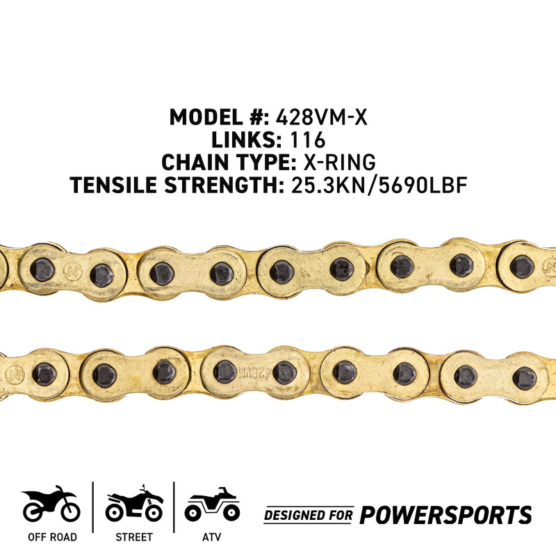 NICHE 519-CDC2559H Drive Chain for zOTHER Yamaha YZ125 YAS1C TTR125LE