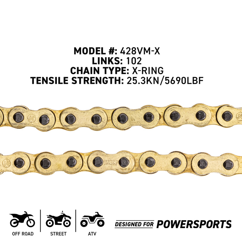 NICHE 519-CDC2591H Drive Chain for Kawasaki RS100 EZ90 CT125 Citi