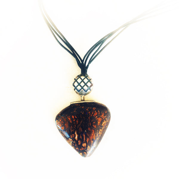 Rounded triangular boulder opal pendant with lovely Koroit pattern