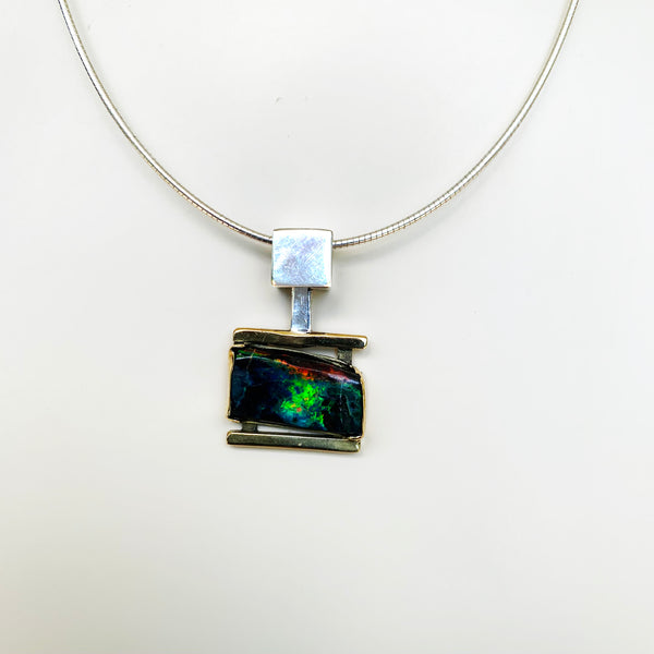 Green-orange horizontal stripe boulder opal pendant front