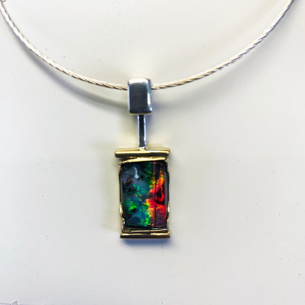 Green-orange vertical stripe boulder opal pendant front