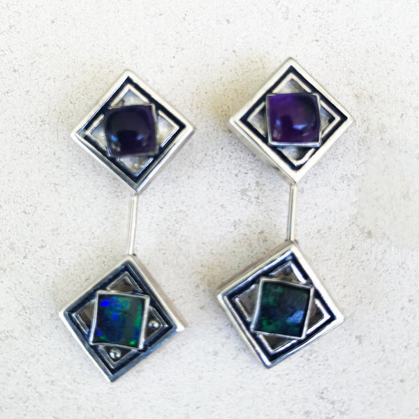 Blue-green boulder opal and amethyst Giometria earrings