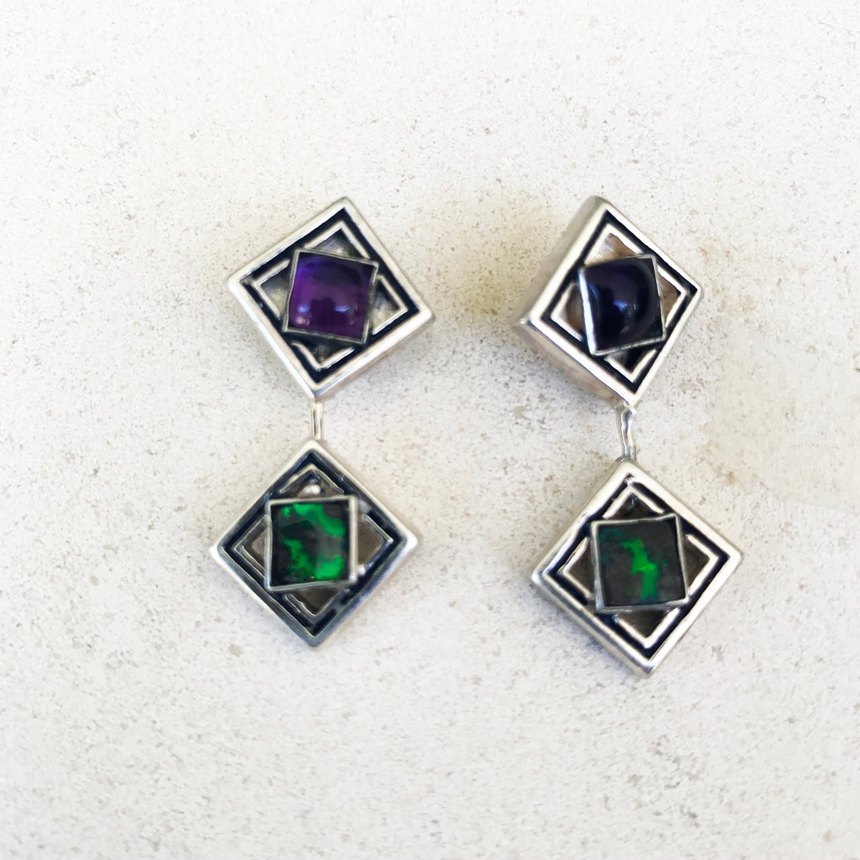 Green boulder opal and amethyst Giometria earrings