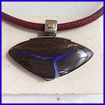 Boulder opal pendant on red stingray necklet