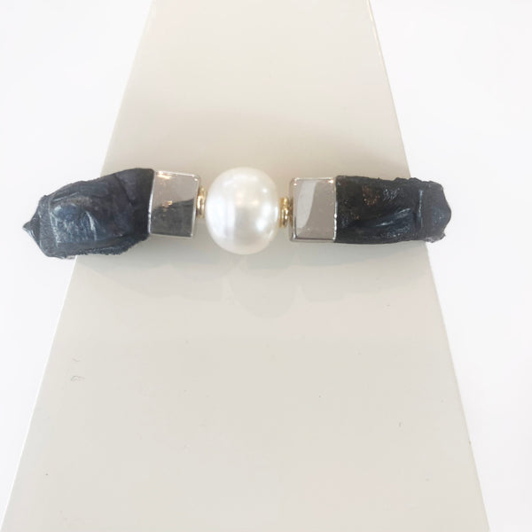 Black and ivory crocodile and black pearl bracelet