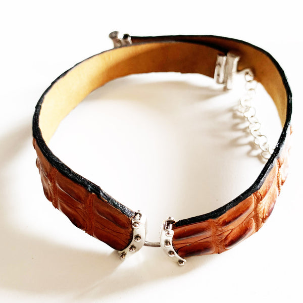 ladies tan crocodile tail chokers chokers