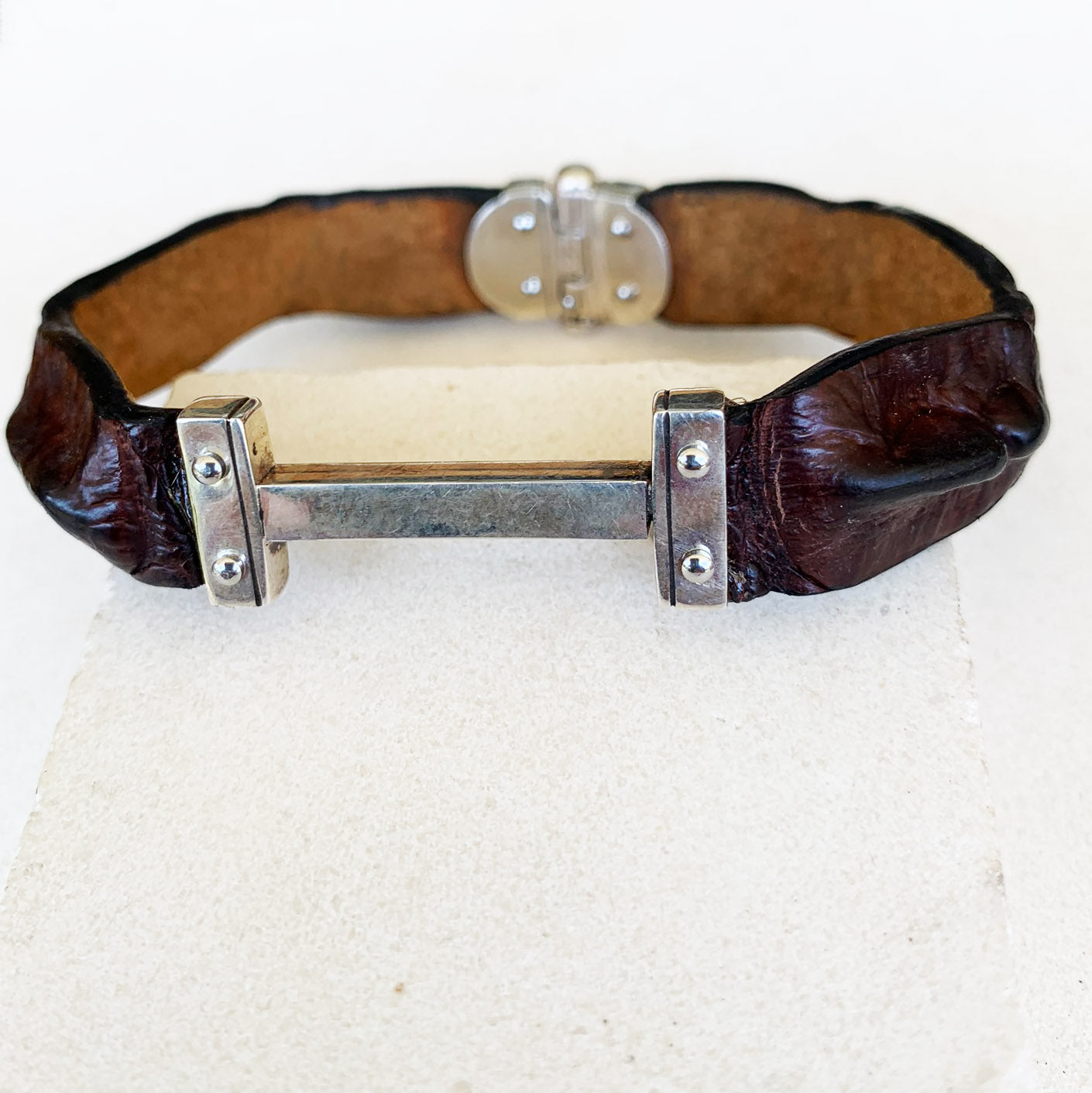 Men's crocodile bar bracelet