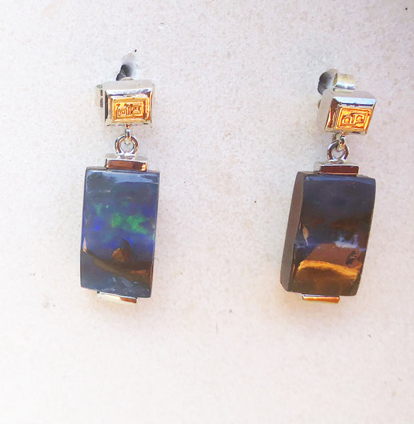 Rounded triangle boulder opal and sterling silver yellow gold earrings