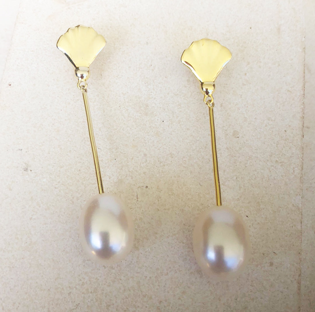 Reef shell sterling silver and gold plate pearl drop earrings