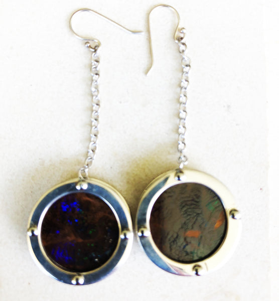 Boulder opal window drop earrings