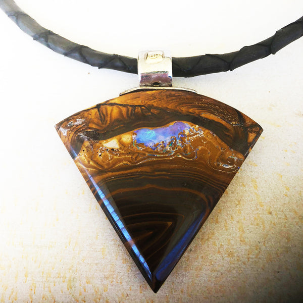 Large triangular boulder opal pendant
