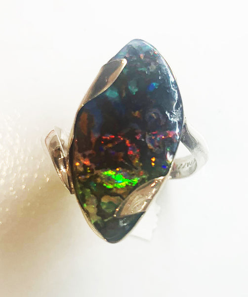 Boulder opal ring in gold and sterling silver