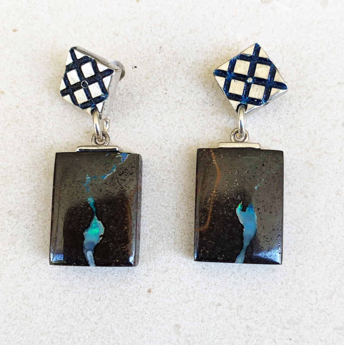 Boulder opal, sterling silver and yellow gold earrings