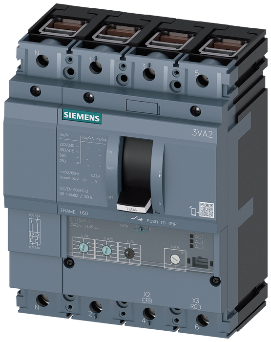 circuit breaker 3VA2 IEC frame 160 breaking capacity class C Icu=110kA @ 415V 4-pole, line protection ETU320, LI, In=100A overload protection Ir=40A.. motor - 3VA2110-7HL46-0AA0