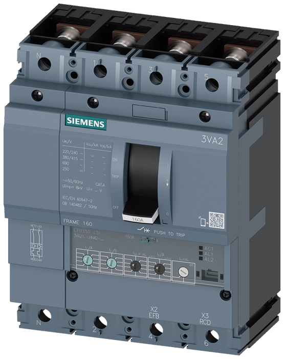 circuit breaker 3VA2 IEC frame 160 breaking capacity class L Icu=150kA @ 415V 4-pole, line protection ETU350, LSI, In=100A overload protection Ir=40A. motor - 3VA2110-8HN42-0AA0
