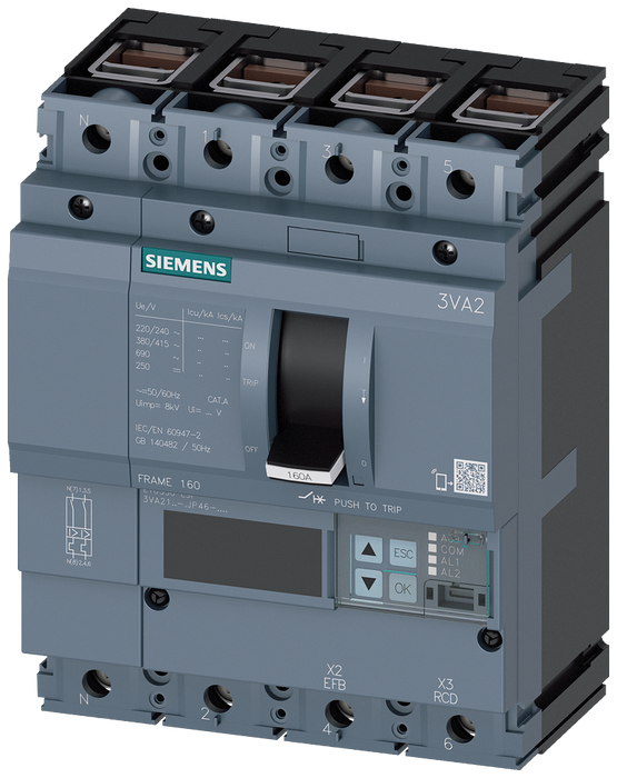 circuit breaker 3VA2 IEC frame 160 breaking capacity class M Icu=55kA @ 415V 4-pole, line protection ETU550, LSI, In=160A overload protection Ir=63A.. motor - 3VA2116-5JP46-0AA0