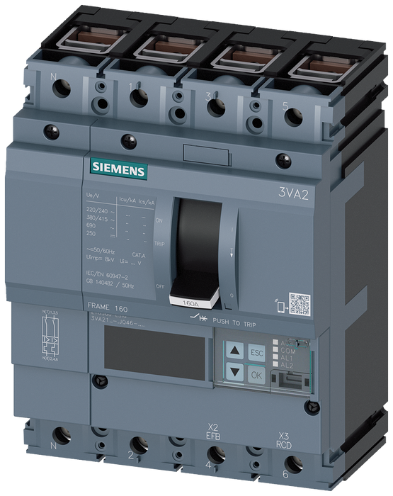 circuit breaker 3VA2 IEC frame 160 breaking capacity class H Icu=85kA @ 415V 4-pole, line protection ETU560, LSIG, In=160A overload protection Ir=63A. motor - 3VA2116-6JQ46-0AA0