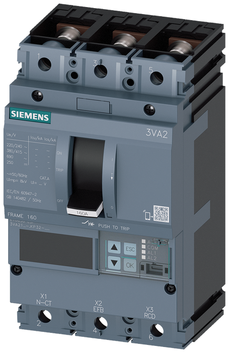circuit breaker 3VA2 IEC frame 160 breaking capacity class M Icu=55kA @ 415V 3-pole, line protection ETU850, LSI, In=25A overload protection Ir=10A... motor - 3VA2125-5KP32-0AA0