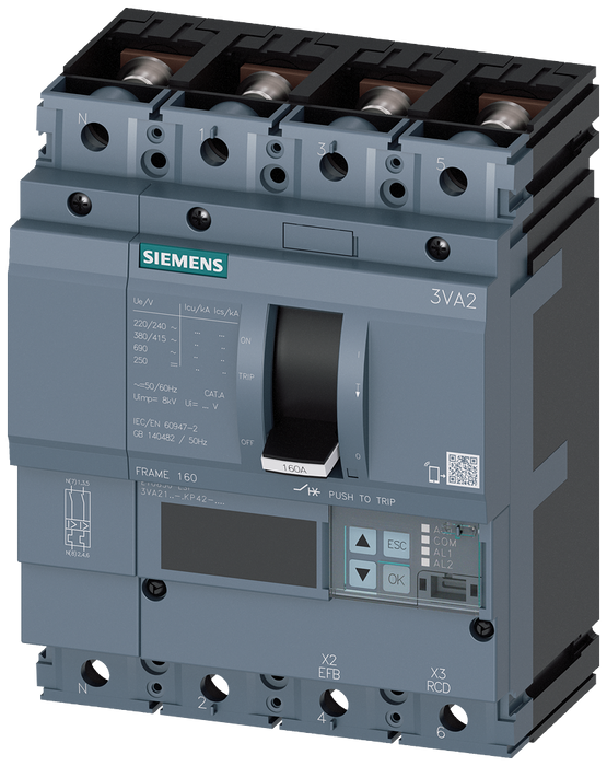 circuit breaker 3VA2 IEC frame 160 breaking capacity class C Icu=110kA @ 415V 4-pole, line protection ETU850, LSI, In=160A overload protection Ir=63A. motor - 3VA2116-7KP42-0AA0