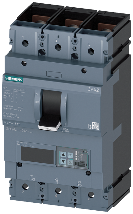 circuit breaker 3VA2 IEC frame 630 breaking capacity class H Icu=85kA @ 415V 3-pole, line protection ETU860, LSIG, In=630A overload protection Ir=250A motor - 3VA2463-6KQ32-0KG0