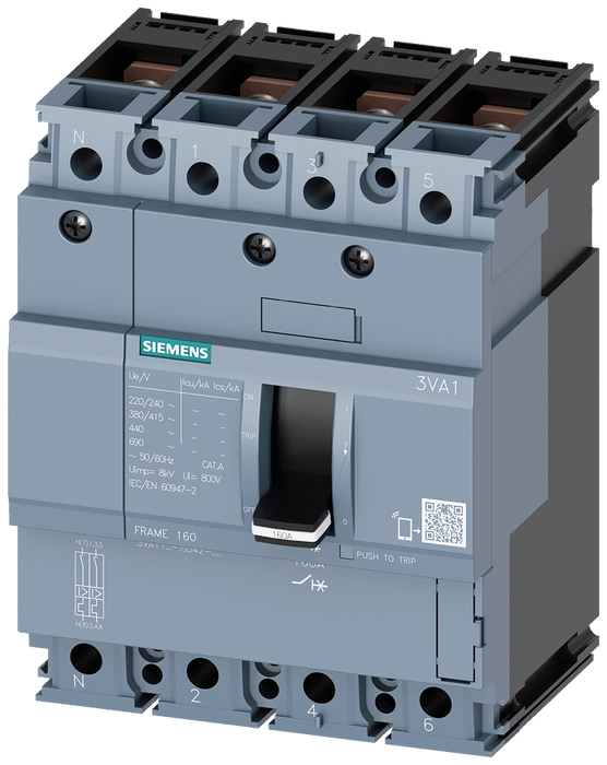 circuit breaker 3VA1 IEC frame 160 breaking capacity class H Icu=70kA @ 415V 4-pole, line protection TM210, FTFM, In=125A overload protection Ir=125A motor - 3VA1112-6GD42-0AA0