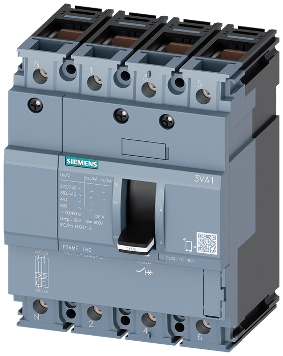 circuit breaker 3VA1 IEC frame 160 breaking capacity class S Icu=36kA @ 415V 4-pole, line protection TM210, FTFM, In=160A overload protection Ir=160A motor - 3VA1116-4GD46-0AA0