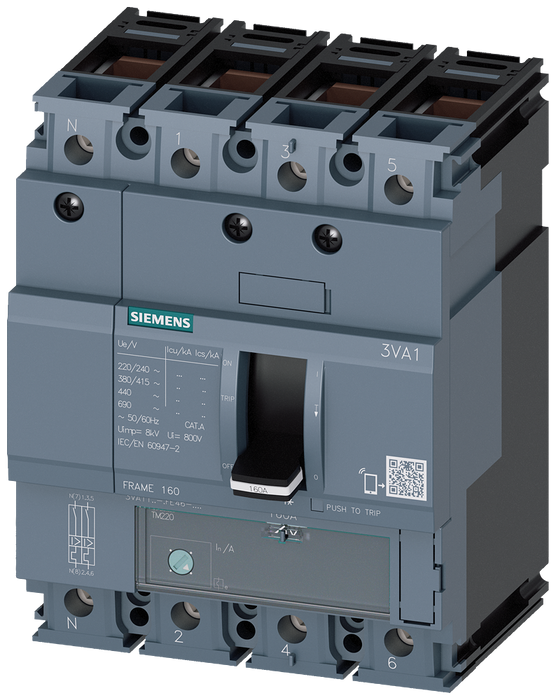 circuit breaker 3VA1 IEC frame 160 breaking capacity class H Icu=70kA @ 415V 4-pole, line protection TM220, ATFM, In=100A overload protection Ir=70A.. motor - 3VA1110-6FE46-0AA0