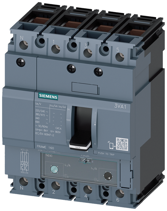 circuit breaker 3VA1 IEC frame 160 breaking capacity class M Icu=55kA @ 415V 4-pole, line protection TM240, ATAM, In=125A overload protection Ir=88A.. motor - 3VA1112-5FF46-0AA0