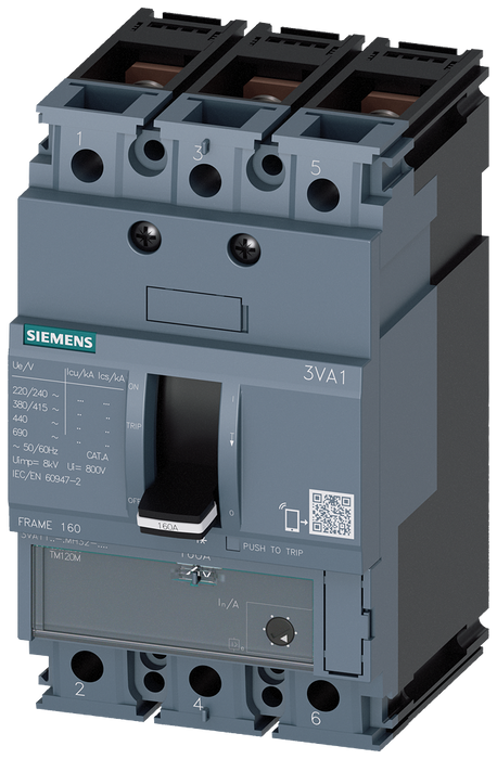 circuit breaker 3VA1 IEC frame 160 breaking capacity class H Icu=70kA @ 415V 3-pole, starter protection TM120M, AM, In=100A without overload protectio motor - 3VA1110-6MH32-0JC0