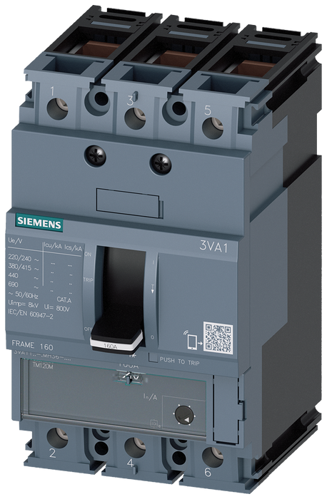 circuit breaker 3VA1 IEC frame 160 breaking capacity class M Icu=55kA @ 415V 3-pole, starter protection TM120M, AM, In=125A without overload protectio motor - 3VA1112-5MH36-0KH0