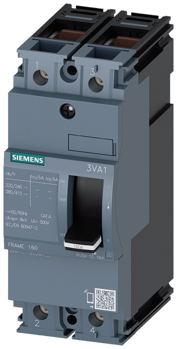 circuit breaker 3VA1 IEC frame 160 breaking capacity class S Icu=36kA @ 415V 2-pole, line protection TM210, FTFM, In=160A overload protection Ir=160A motor - 3VA1116-4ED26-0AA0