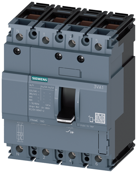 circuit breaker 3VA1 IEC frame 160 breaking capacity class M Icu=55kA @ 415V 4-pole, line protection TM210, FTFM, In=160A overload protection Ir=160A motor - 3VA1116-5ED46-0AA0