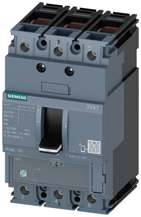 circuit breaker 3VA1 IEC frame 160 breaking capacity class N Icu=25kA @ 415V 3-pole, line protection TM220, ATFM, In=160A overload protection Ir=112A. motor - 3VA1116-3EE36-0AC0