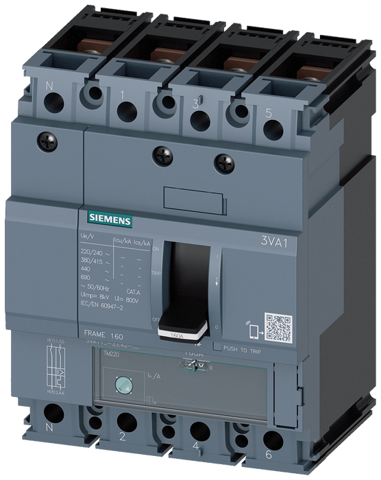 circuit breaker 3VA1 IEC frame 160 breaking capacity class N Icu=25kA @ 415V 4-pole, line protection TM220, ATFM, In=160A overload protection Ir=112A. motor - 3VA1116-3EE42-0AA0